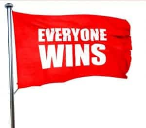 everyone wins, 3D rendering, a red waving flag